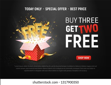 Buy 3 get 2 free vector illustration. Ad Special offer super sale red gift box on dark background