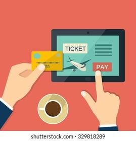 Buy air ticket online. Flat vector illustration