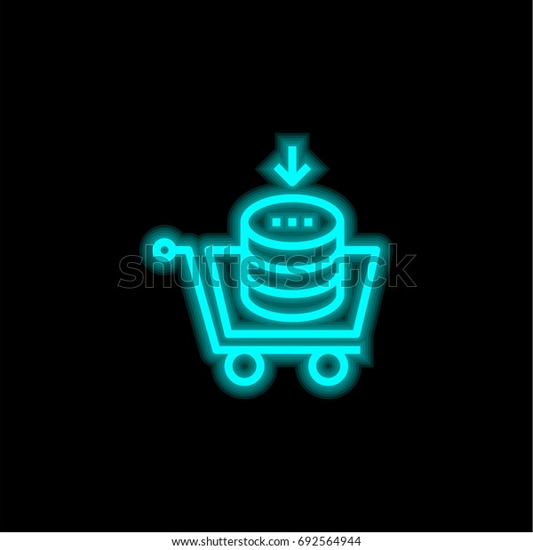 Buy blue glowing neon ui ux icon. Glowing sign logo vector