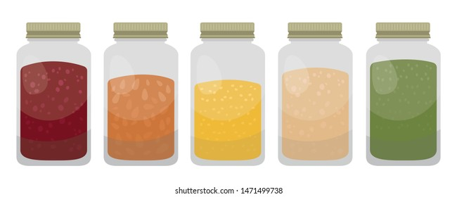 Buy in Bulk Illustration Vector Set in Flat Style Isolated on White Background - Illustration of Jars filled with Various Food Ingredients to be sold in bulk.