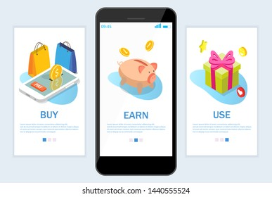 Buy Earn Use onboarding screens for web site and mobile app. Menu banner vector template for website and application development. Earn points for rewards from purchases concept.