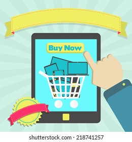 Buy electronic equipment through tablet. Buy shopping cart full of electronic equipment online through tablet. Colorful artwork. Blank ribbon and stamp for insert text.