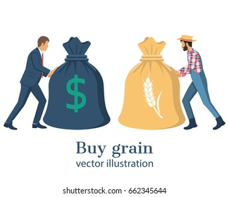 Buy grain. Business meeting businessman and farmer. Transaction of sale crops. Agricultural income concept. Push big bag with money and grain. Agribusiness background, isolated. Vector flat design.