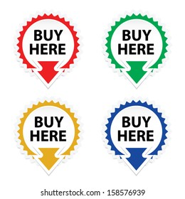 Buy Here button, icon, sticker or symbols on white background - Vector.