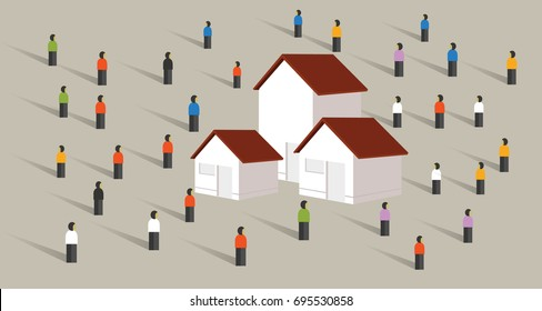 buy home housing affordable mortgage people crowd standing around property market