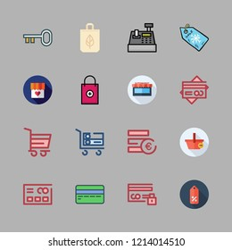 buy icon set. vector set about key, euro, supermarket and cash register icons set.