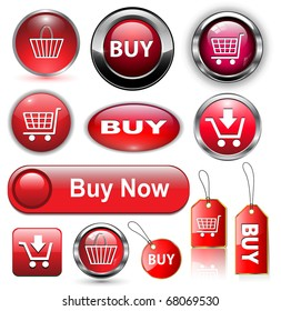 Buy icons buttons set, vector illustration.