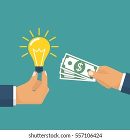 Buy idea. Business transaction light bulb as symbol of innovation and money hold in hand. Crowdfunding concept. Investment. Cost of innovations. Vector illustration flat design. Isolated on background