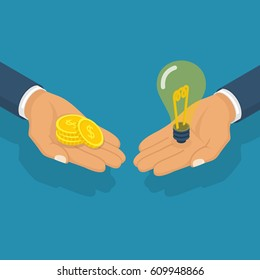 Buy idea. Idea trading. Business transaction light bulb symbol of innovation, money hold hand. Crowdfunding concept. Investment. Cost of innovations. Vector isometric design. Isolated on background.