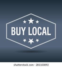 buy local hexagonal white vintage retro style label