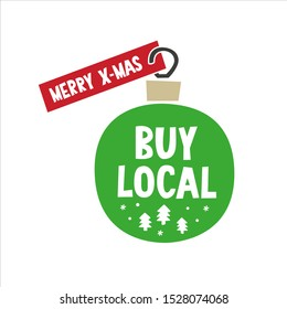 Buy local Merry X-mas tag promo sticker. Christmas ornament label design with winter forest, tree, snowflake clipart for December product promotion, eco shop, farmer booth decoration.