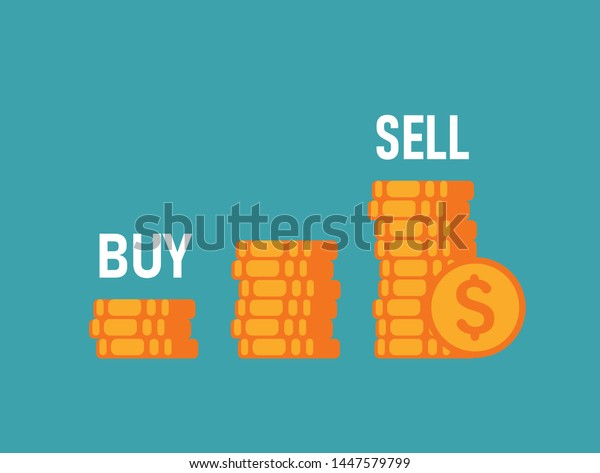 Buy Low Sell High Three Piles Stock Vector Royalty Free 1447579799