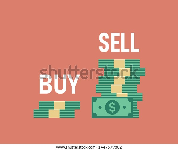 Buy Low Sell High Two Piles Stock Vector Royalty Free 1447579802