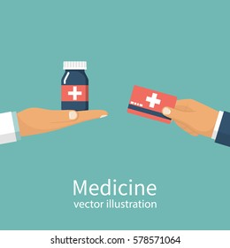 Buy medicine. Doctor holding bottle of pills to a patient. Medical insurance card in hand in exchange for tablets. Sell pills. Pharmacy shop. Vector illustration flat design. Isolated on background.