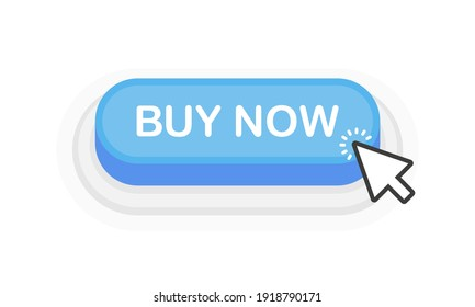 Buy Now blue 3D button in flat style isolated on white background. Vector illustration.