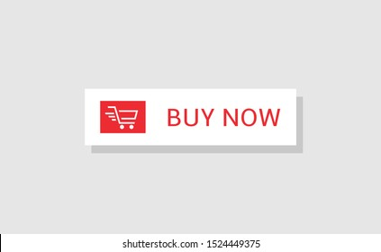 Buy now button. Red Buy now button with shopping cart icon template, Web design elements
