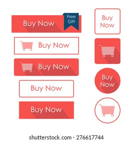 Buy now buttons set. Flat design with long shadow. Vector illustration
