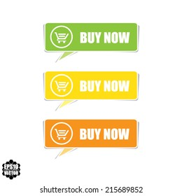 Buy now colorful button template and Set of modern e-commerce buttons and icons. Vector.
