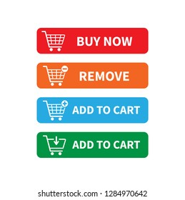 Buy now icon, Add to cart icon, Remove icon. Shopping Cart icon. vector illustration.
