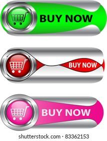 Buy Now metallic web icon/label set