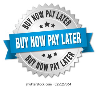 buy now pay later 3d silver badge with blue ribbon