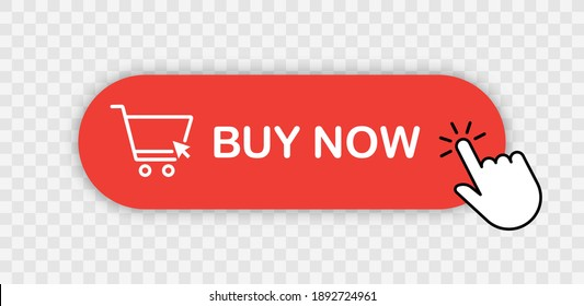Buy now red button with hand cursor. Button hand pointer clicking. Click here banner with shadow. Click button isolated. Online shopping.