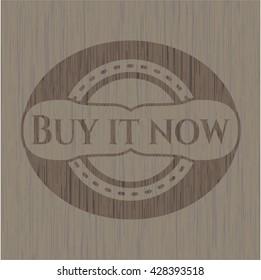 Buy it Now retro wood emblem