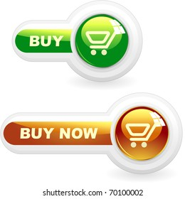 BUY NOW. Shopping cart. Vector button for online sale.