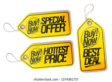 Buy now, special offer tag, hottest price tag and best deal tag, vector set