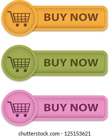 Buy Now web labels for shopping made of leather. Vector illustration