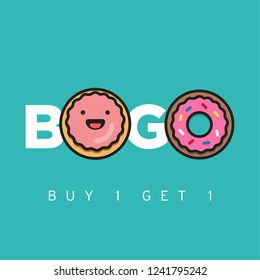 Buy One Get One BOGO Discount Offer Sale Poster Design with Donut Illustration