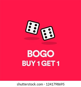 Buy One Get One BOGO Discount Offer Sale Poster Design with Two Dice