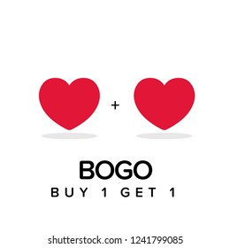 Buy One Get One BOGO Discount Offer Sale Poster Design with Two Hearts