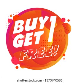 buy one get one free, banner sale concept, vector illustration