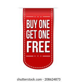 Buy One Get One Free banner design over a white background, vector illustration
