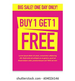 Buy one get one free. Big sale banner. special offer. Pink with yellow.