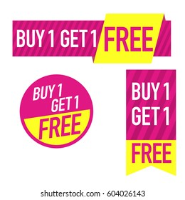 Buy one get one free. Set of super sale banners, sticker. special offer. Pink with yellow.