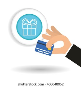 Buy online over white background, credit card design