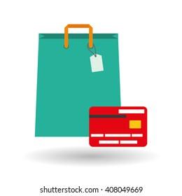 Buy online over white background, shopping bag design