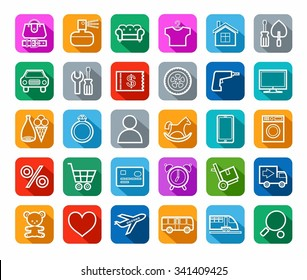 Buy, online shop, categories, goods, icons, linear, solid color. Vector linear icons for the categories of goods online store. White images on a colored background with a shadow.