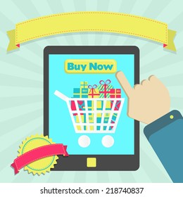 Buy online through tablet. Buy goods online through tablet. Colorful artwork. Blank ribbon and stamp for insert text.