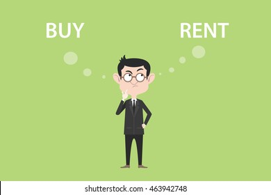 buy or rent concept with businessman standing confuse to choose between two option vector graphic illustration