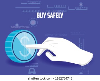 buy safely online with hand and coin
