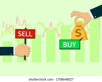 buy and sell over the Stock market chart,Stock market exchange data business trading concept