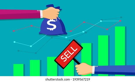 buy and sell over the Stock market chart. business trading concept