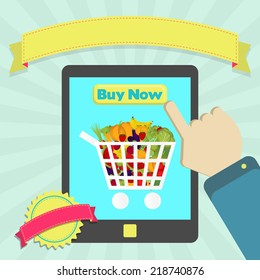 Buy shopping cart full of vegetables. Buy shopping cart full of fruits and vegetables online through laptop. Colorful artwork. Blank ribbon and stamp for insert text.