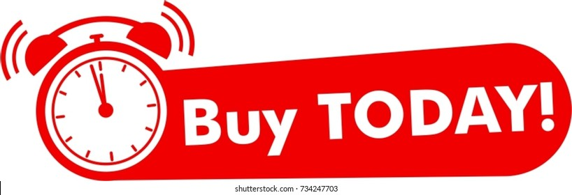 Buy today flat, red logo with alarm clock