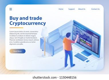Buy and Trade Cryptocurrency. Online Bitcoin Business. Finance, Global Digital Money. Cryptocurrency and Blockchain. Mobile Stock Trading Online. Vector Isometric Illustration. Landing Page Banner.