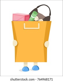 The buyer to keep a package with purchases. Flat vector illustration.