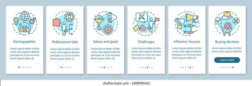 Buyer persona onboarding mobile app page screen with linear concepts. Audience segmentation walkthrough steps graphic instructions. UX, UI, GUI vector template with illustrations